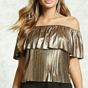 NWT Metallic Off Shoulder Top US Size Large